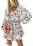Dokotoo Womens Square Neckline Long Sleeve Floral Print Mini Dress