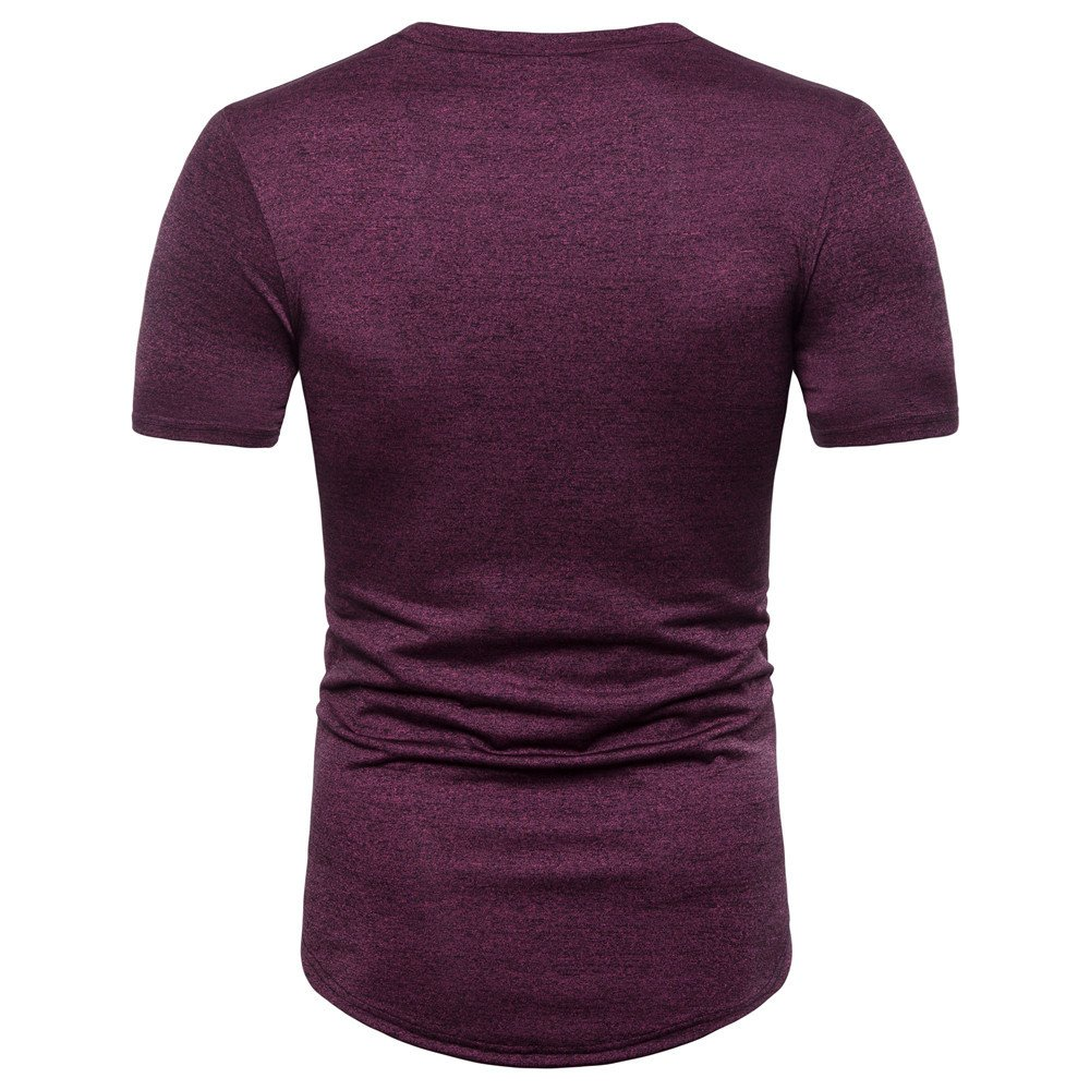 Yutao Mens Casual Stripe Print O Neck Pullover Short Sleeve Graphic T-Shirt Top Blouse