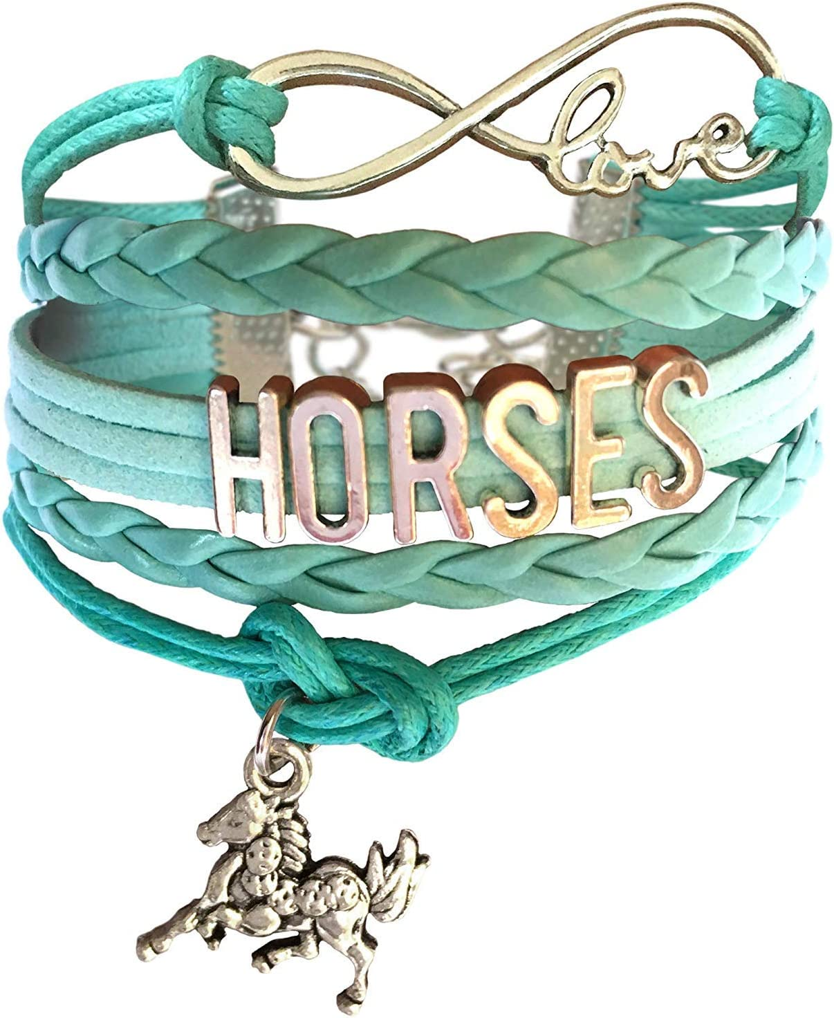 biaofeng Horses Bracelets Horse Charm-Girls Horse Lover Jewelry Gifts-Braided Adjusted Pink