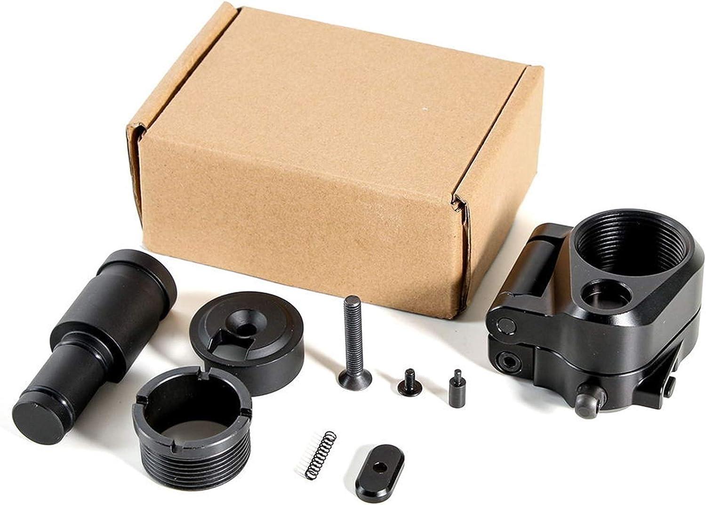 YUSHAOLI YSLI Adaptador de Stock Tactical AR Plegable 30 mm Ajuste para M16 / M4 Serie SR25 GBB (AEG) Airsoft Pistola Alcance Accesorios de Caza (Color : Black)
