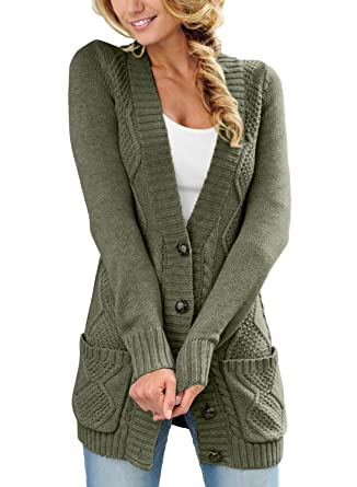 6a8c183749 LOSRLY Women Open Front Cabel Knit Cardigan Button Down Long Sleeve Sweater  Coat Outwear with Pockets