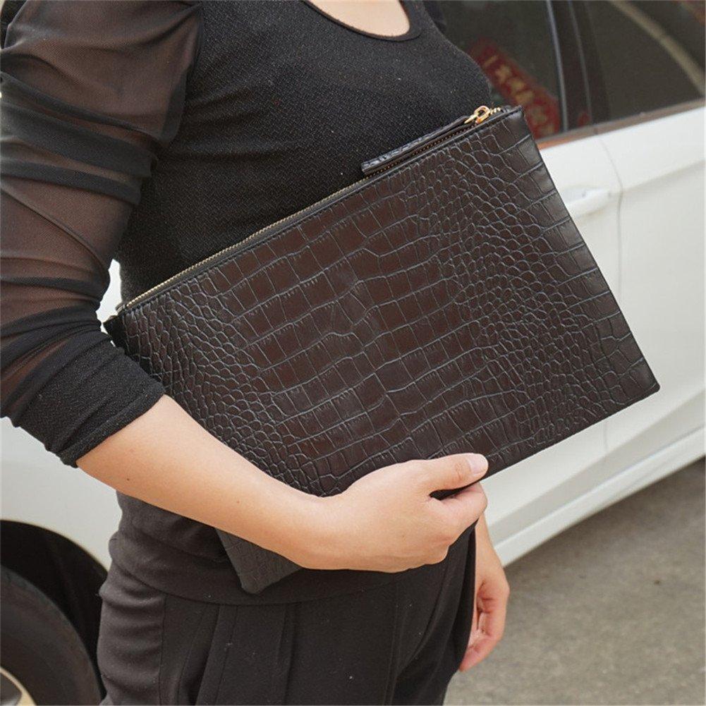 NIGEDU Women Clutches Crocodile Grain PU Leather Envelope Clutch Bag (Black) by NIGEDU (Image #2)