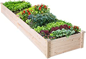 EAGLE PEAK Outdoor Wooden Raised Garden Bed, Elevated Planter Box Kit for Vegetables, Flowers, Herbs in Deck, Backyard, Patio, 96 x 25 x 10 in, Natural