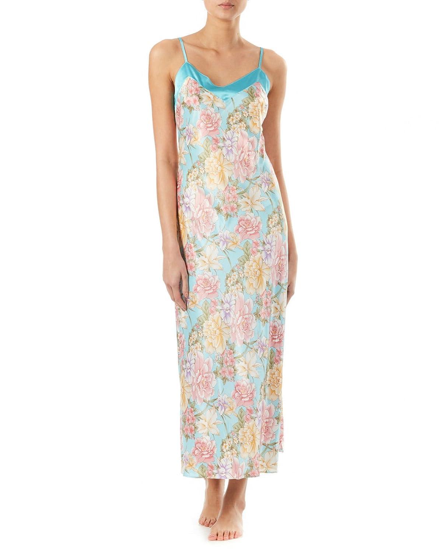 Slenderella satén o Floral Camisón Transparente Rosa o satén azul S/M/L/XL 725685