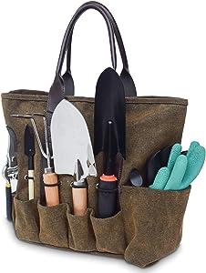 Blusea Garden Tool Bag, Gardening Kit Tote Bag Home Organizer, Gardening Tool Kit Holder, Lawn Yard Storage Bag Carrier with Ergonomic Handle 7 Pockets