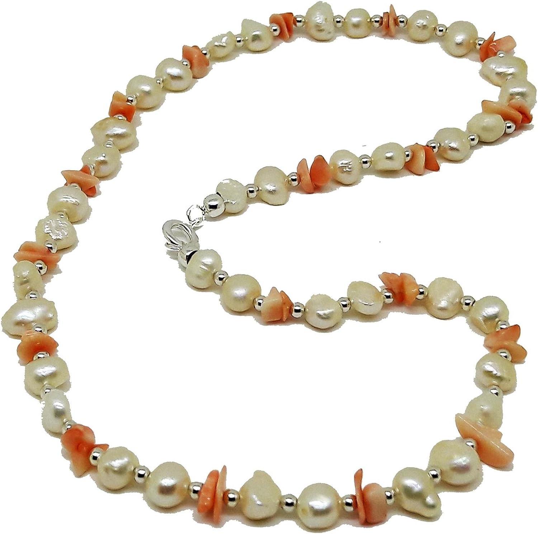 El Coral Collar Perlas Blancas, Chips Rosa y Bolitas Plateadas