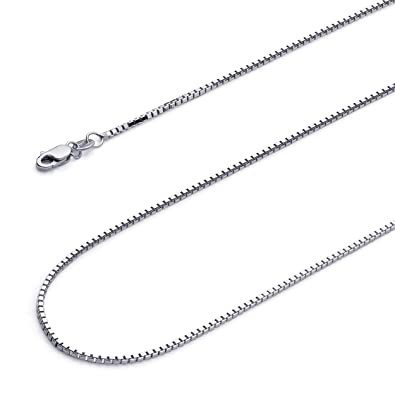740ac36c93563 Wellingsale 14k Yellow OR White Gold SOLID 1.2mm Polished Box Chain Necklace