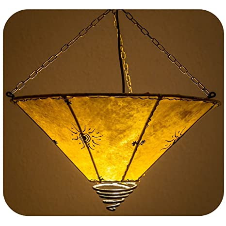 Pantalla marroqui para lámpara de techo, Pantalla de cuero ...