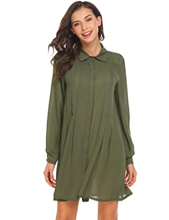 a7480ac114c Bifast Women s Long Sleeve Pleated Casual Loose Chiffon Button Down ...