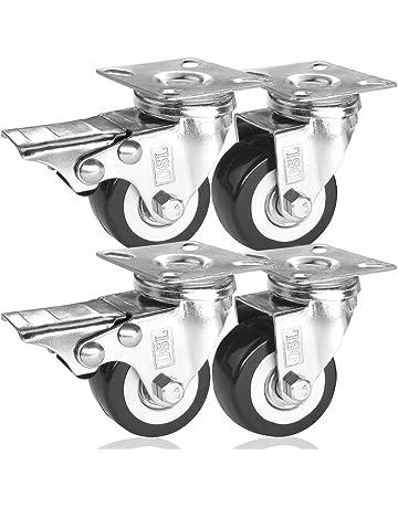 DSL - Rueda giratoria para muebles, 4 x 50 mm, poliuretano, 2 ruedas