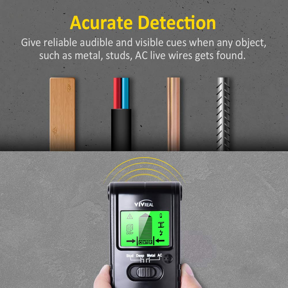 Stud Finder Wall Scanner - 4 in 1 Electric Multi Function Wall Detector Finders with Digital LCD Display, Center Finding Stud Sensor & Sound Warning ...