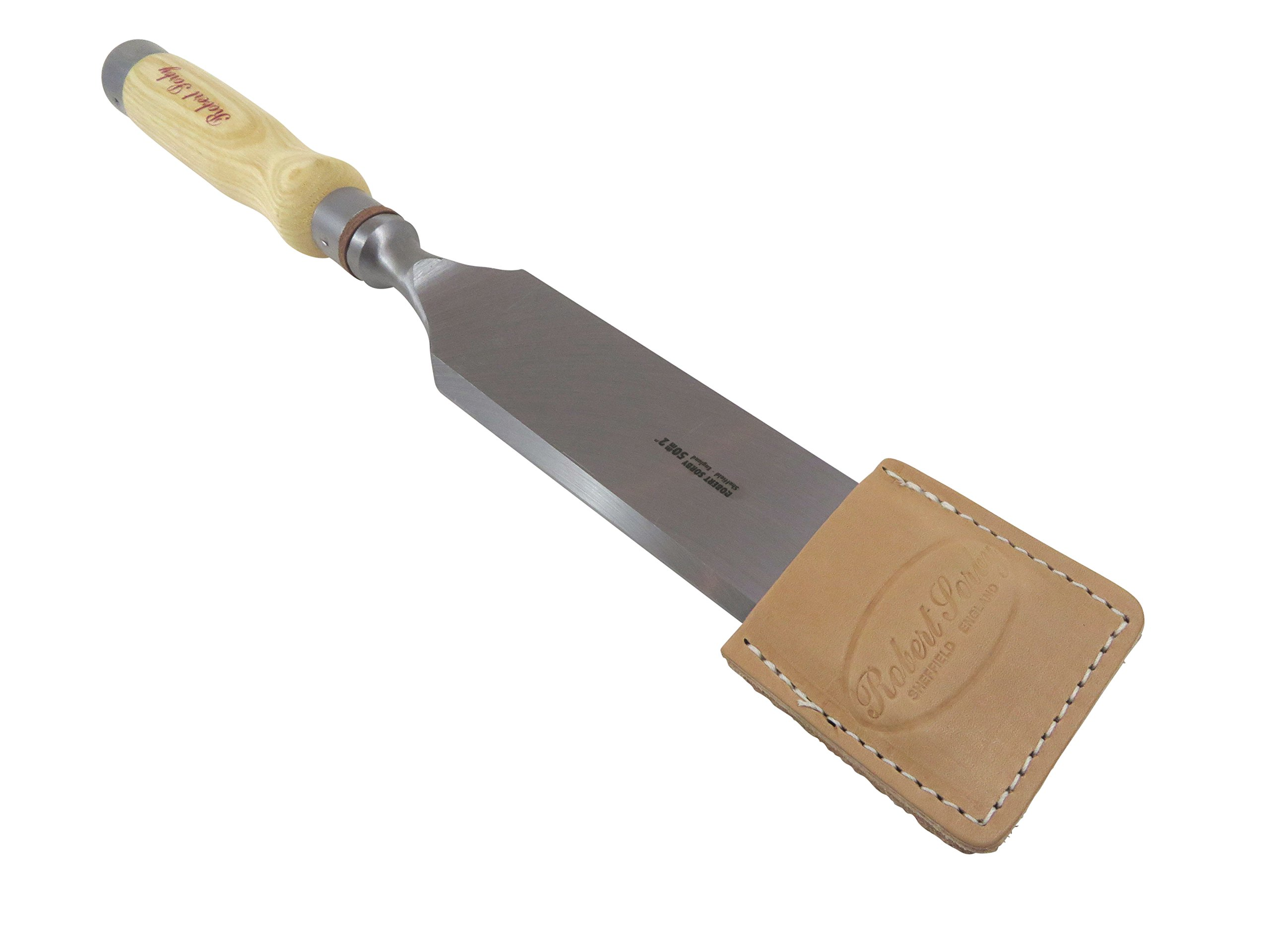 Bundle Robert Sorby 286/285EG50 2'' Timber Framing Chisel with Beveled Edges and Leather Edge Guard 15-1/2 Overall Length