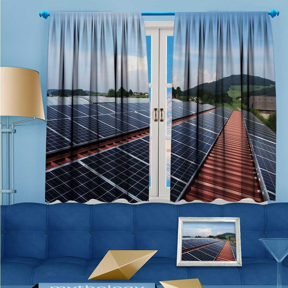 SCOCICI1588 Darkening Rod Pocket Unlined Window Curtains, Flat panels of solar panels Floral Pattern, Set of Two Panels, W84'' x L84'' Pair