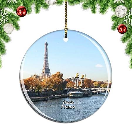 Weekino Francia Sena París Decoración de Navidad Árbol de Navidad Adorno Colgante Ciudad Viaje Colección de Recuerdos Porcelana 2.85 Pulgadas