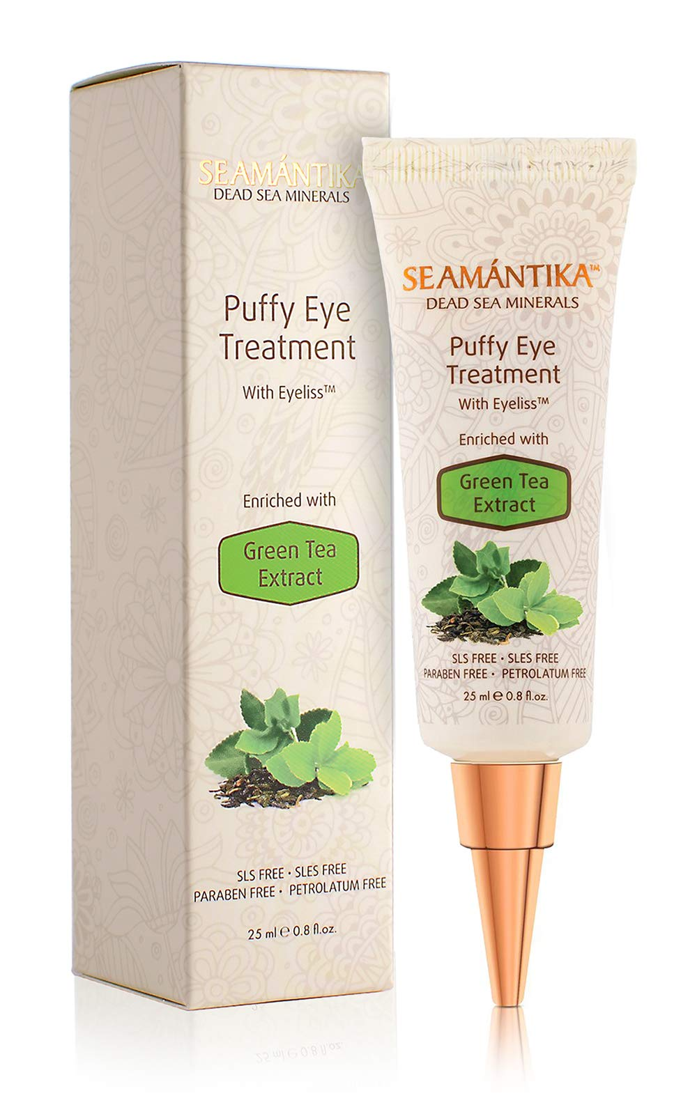 Puffy Eyes Treatment Instant results - Naturally Eliminate Wrinkles, Puffiness, Dark Circle and Bags in Minutes - Hydrating Eye Cream w/Green Tea Extract, Dead Sea Minerals by SEAMANTIKA - .8 oz by SEAMANTIKA