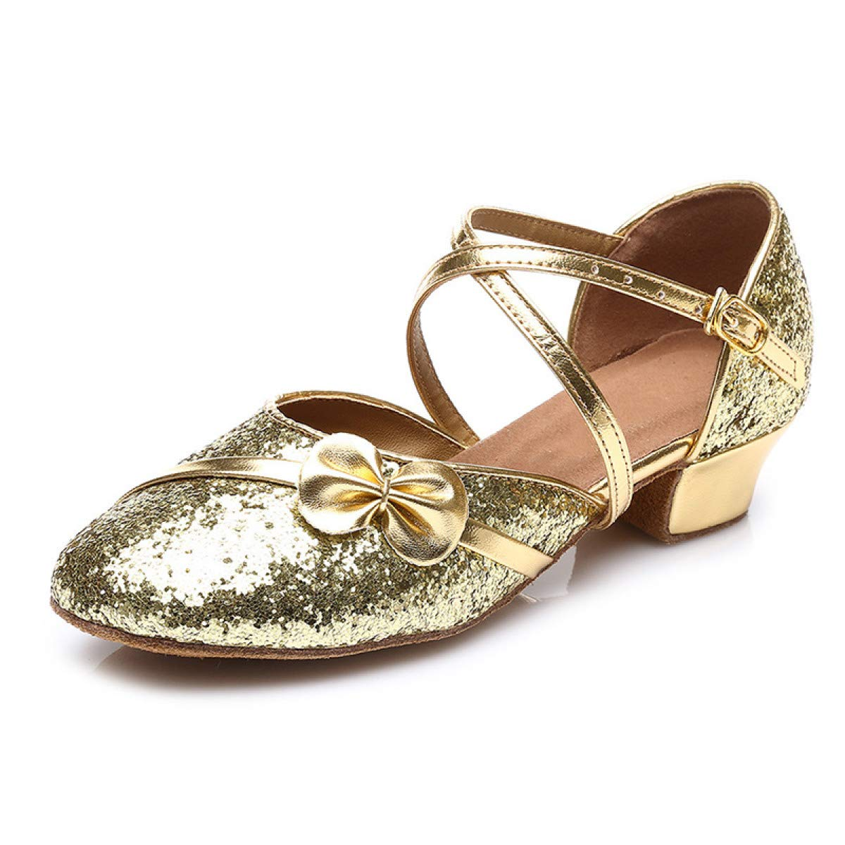 MELLOW SHOP Women Latin Dance Shoes 17-25CM Ladies Ballroom Tango Low Heel Dance