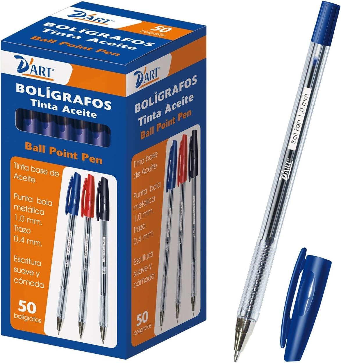DArt 79410 - Caja de bolígrafos, 1 mm, 50 unidades, color azul: Amazon.es: Oficina y papelería