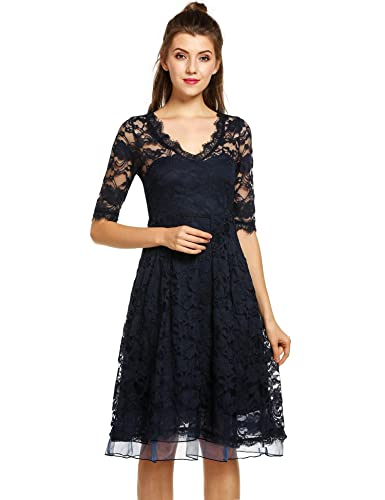 ANGVNS Womens Lace Dress Sexy V-neck Half Sleeve A-line Elegant Formal Party Dress