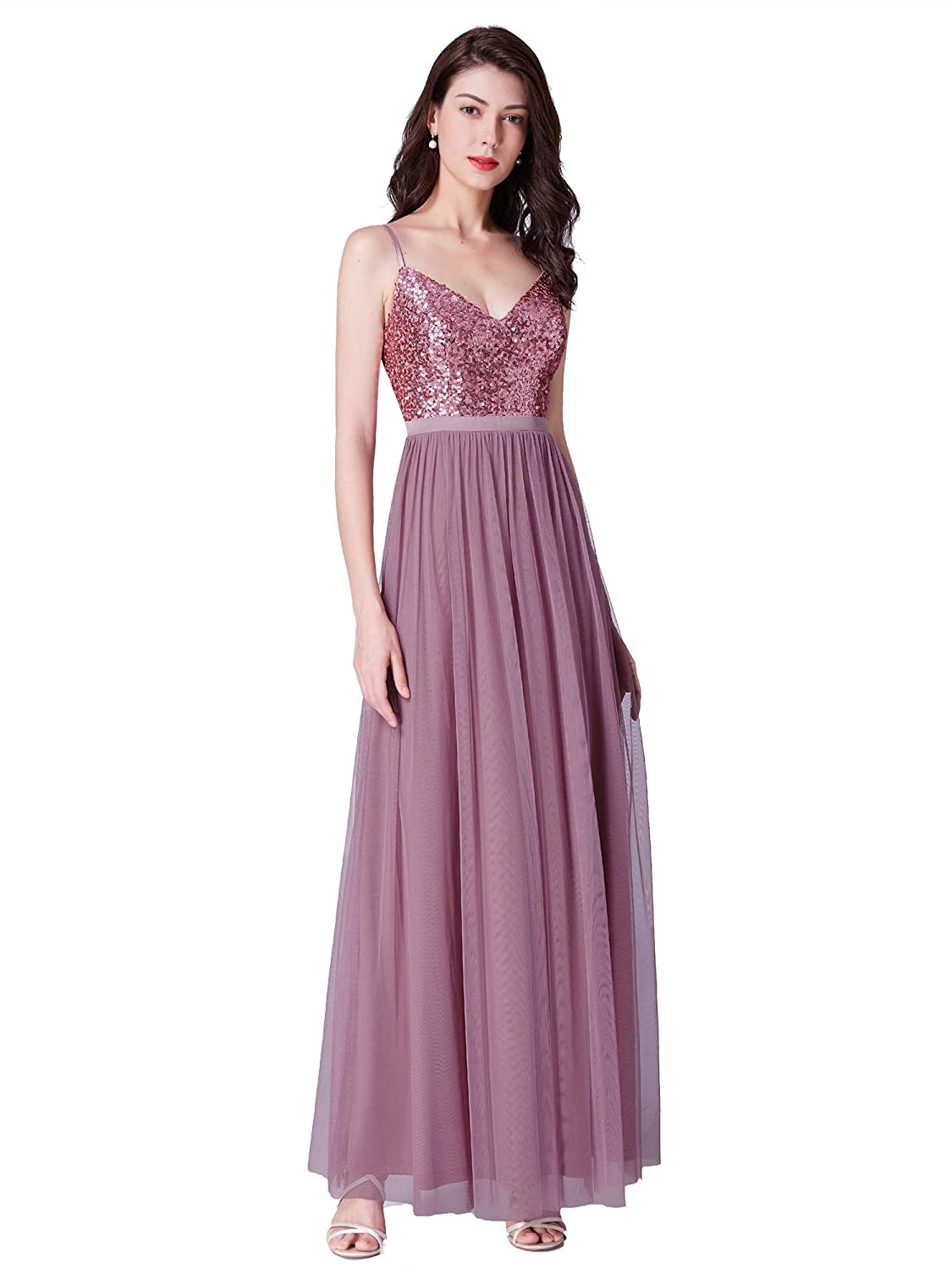 820eacf72d0 Ever-Pretty Elegant A Line Long Tulle Bridesmaid Dresses with Sequin Bodice  07392 at Amazon Women s Clothing store