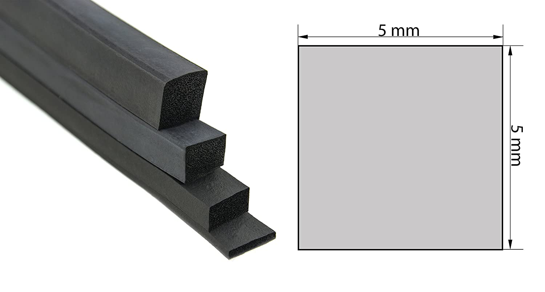 VKP5x5 Vierkantprofil von SMI-Kantenschutzprofi in Schwarz aus EPDM Moosgumm - Moosgummidichtung - Maß e: 5x5 mm (5 m) ST-TP-S