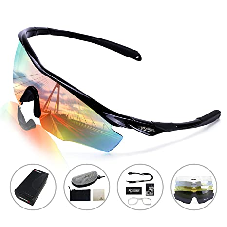 d83e0cf843d ROCKNIGHT Polarized Sports Sunglasses for Men Women with 5 Interchangeable  Lenses Cycling Running Driving Baseball Glasses