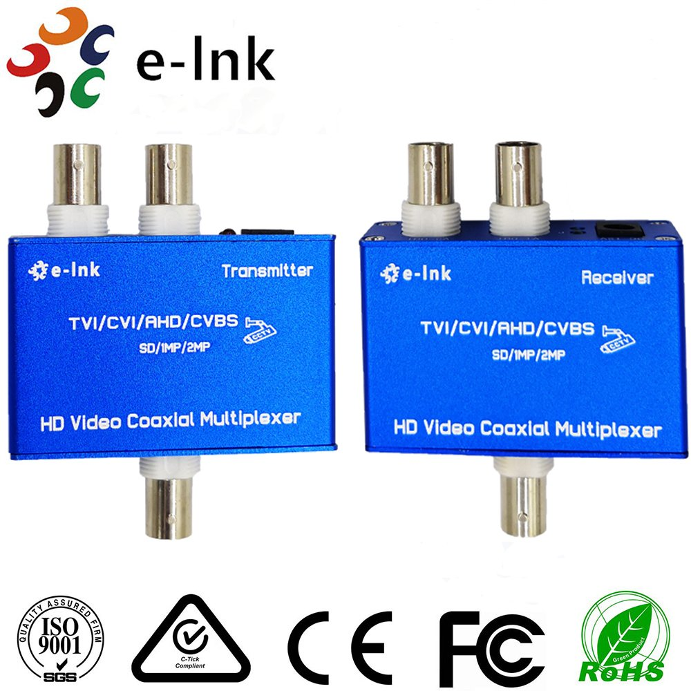 AHD/CVI/TVI (720p 960p 1080p) ビデオコンバータ送信機と受信機の2 MPカメラby One同軸ケーブル B07CTD59GH  Black 2-Ch AHD/CVI/TVI(720P 960P 1080P)