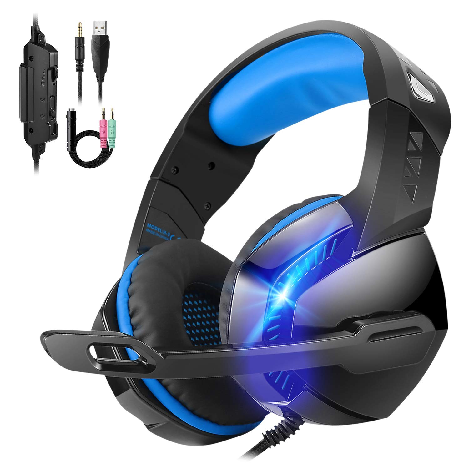 Stereo 7.1 Surround Sound 3.55mm Gaming Headset,for PS4 Xbox One PC Controller Nintendo Switch Games,PHOINIKAS H3 Noise Cancelling Headphones,Over Ear Headphones with Mic LED Light Blue