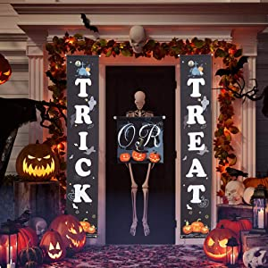 3Pcs Halloween Trick or Treat Banner, Shellvcase Halloween Hanging Sign for Home Office Porch Front Door Yard Wall Halloween Banner Decor, Halloween Welcome Signs Two Side Banner for Indoor/Outdoor