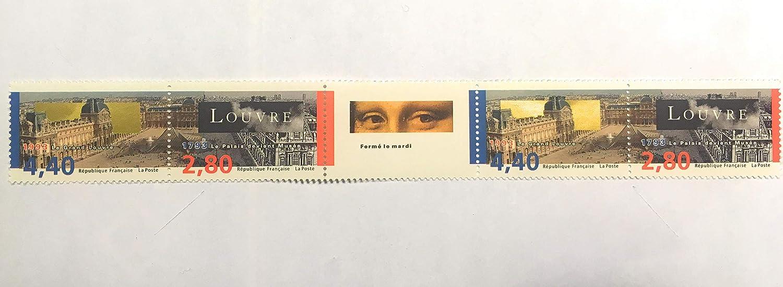 Timbres de Collection Neufs Authentiques Paris: Le Louvre Bande comportant 2 ex du 2851 et 2 ex du 2852 et la Vignette Joconde France 1993