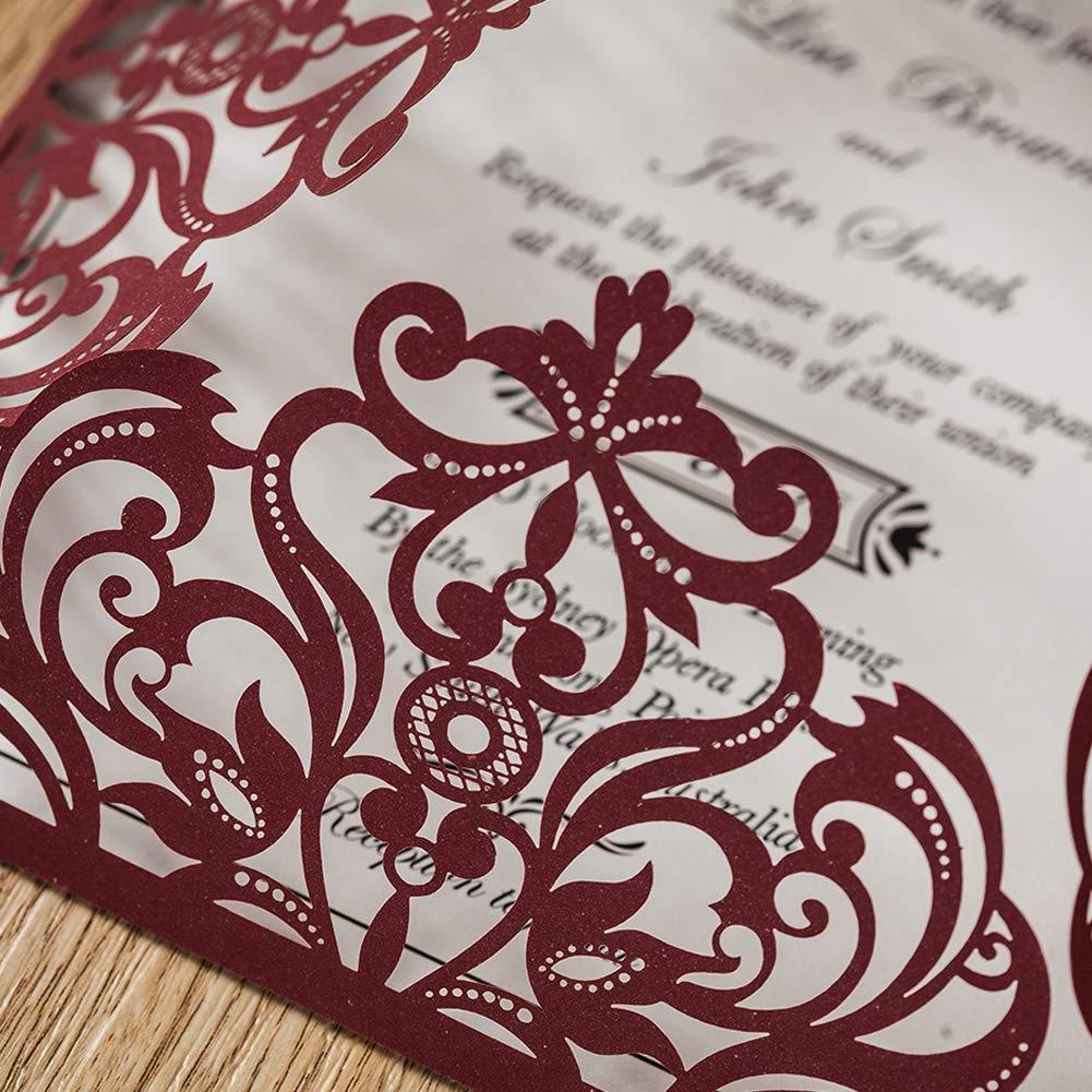 WISHMADE Lot de 20 cartes dinvitation de mariage en dentelle bordeaux d/écoup/ées au laser avec enveloppe
