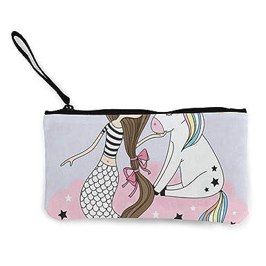 Amazon.com: Monedero de lona de unicornio y sirena con ...