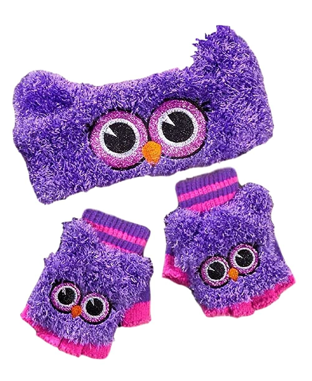 The Lakeside Collection Girls Critter Headwrap & Flip-Top Glove Set (Purple Owl)