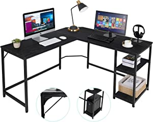 AuAg L-Shaped Computer Desk Home Office Corner Table Industrial Gaming Writing Desk Office Study Workstation with Adjustable Shelves for Home Office, Space-Saving Indoor &Outdoor (Black)