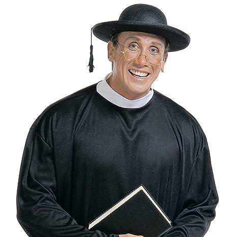 NET TOYS Cappello nero da prete copricapo reverendo sacerdote per Carnevale  e feste 01fe01583201