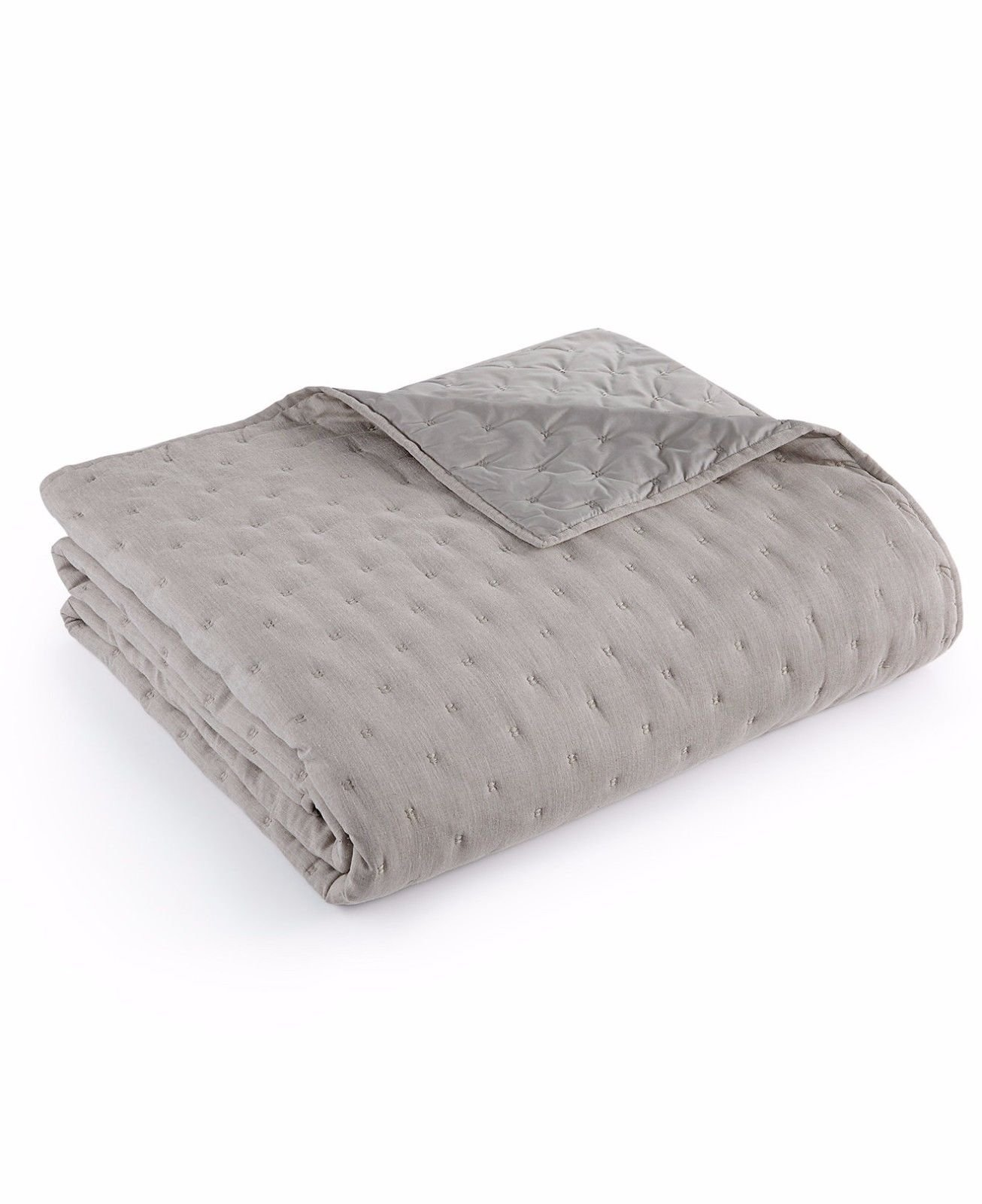 Hotel Collection Eclipse HEATHER GREY Quilted Full / Queen Coverlet