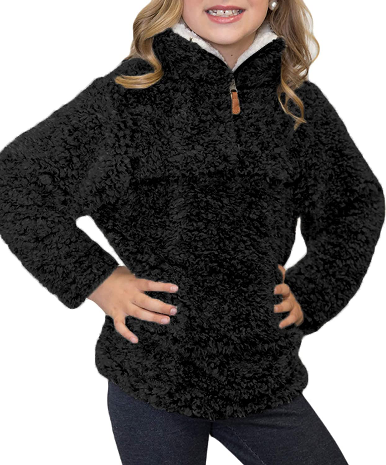 Blibea Girls Fashion Zipper Neck Fluffy Fleece Sweatshirt Pullover Outwear BUT25034-P