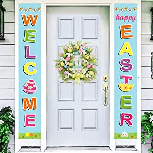 Ivenf Easter Decorations Porch Sign Set, Welcome Happy Easter Hanging Banners for Outdoor Indoor Easter Door Decorations, Spring Yard Front Door Porch Decor for Home Party