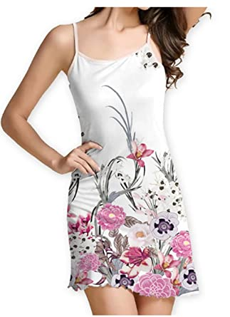 SRYSHKR 2018 Womens Summer Sleeveless Damask Floral Print Casual Loose T-Shirt Midi Long Sling Dress at Amazon Womens Clothing store: