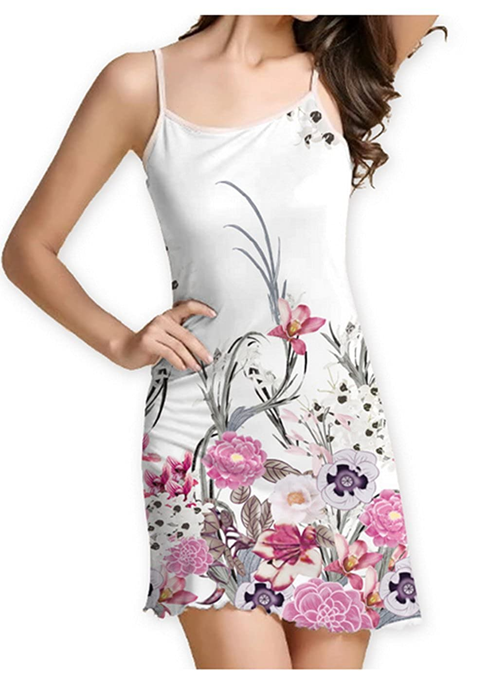7209433d2af SRYSHKR 2018 Women s Summer Sleeveless Damask Floral Print Casual Loose T-Shirt  Midi Long Sling Dress at Amazon Women s Clothing store