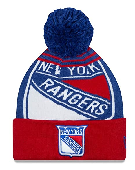 Image Unavailable. Image not available for. Color  New York Rangers New Era  Logo Whiz Blue Cuffed Pom Knit Beanie ... 5b34e4faa1d