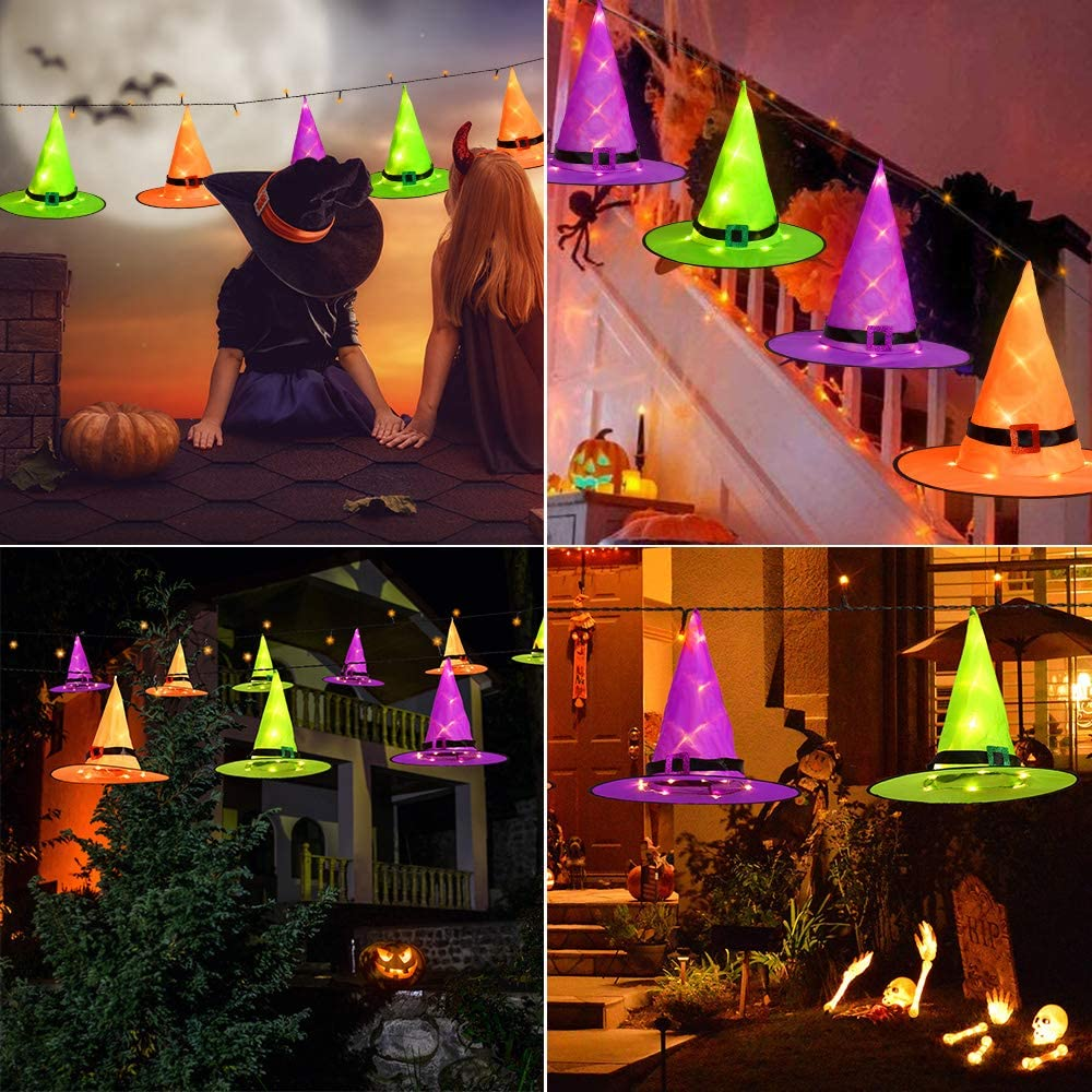 Joomer Halloween Decorations Witch Hat Large Size Hats 15 D X 12 H Tree Party 6Pcs Large Size Hanging Lighted Glowing Witch Hat for Garden Yard