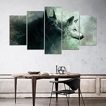 Leinwand Bilder Moderne Wandkunst Leinwand Mit Rahmen Kunst ölgemälde Wolf  Wohnzimmer Dekoration Wandmalerei , With Borders