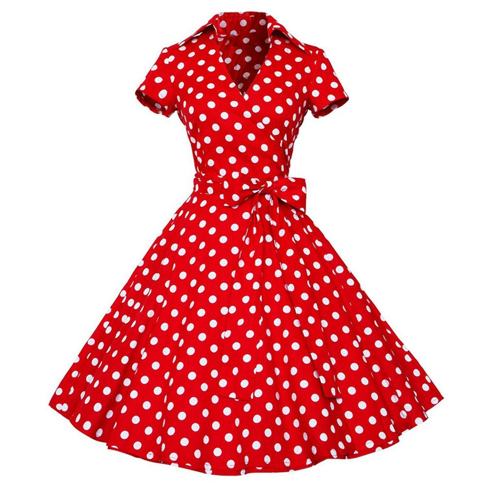 iZHH Women Fashion Vintage Dress 50S 60S Swing Pin up Retro Casual Housewife Party Dress(A-Red,L) by iZHH