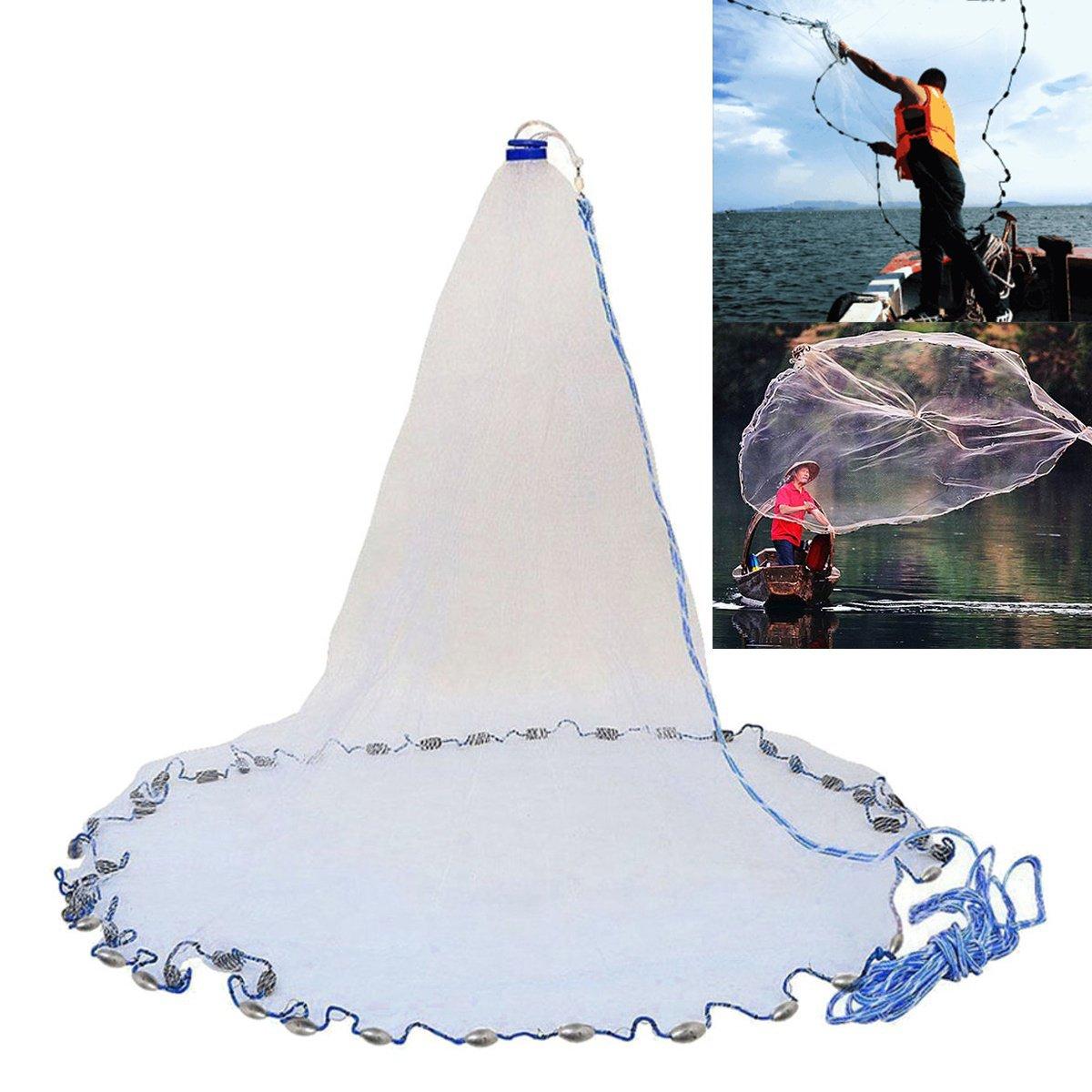 Rosafishs 2,4m-4,8m grose Hand Spin gemahlen Netz Spin Hand Network Bait Fish Net Portable Sinker Net - ce0905