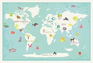Our World Interactive Map With Removable Stickers 36x24 Educational Boho Nordic Bohemian
