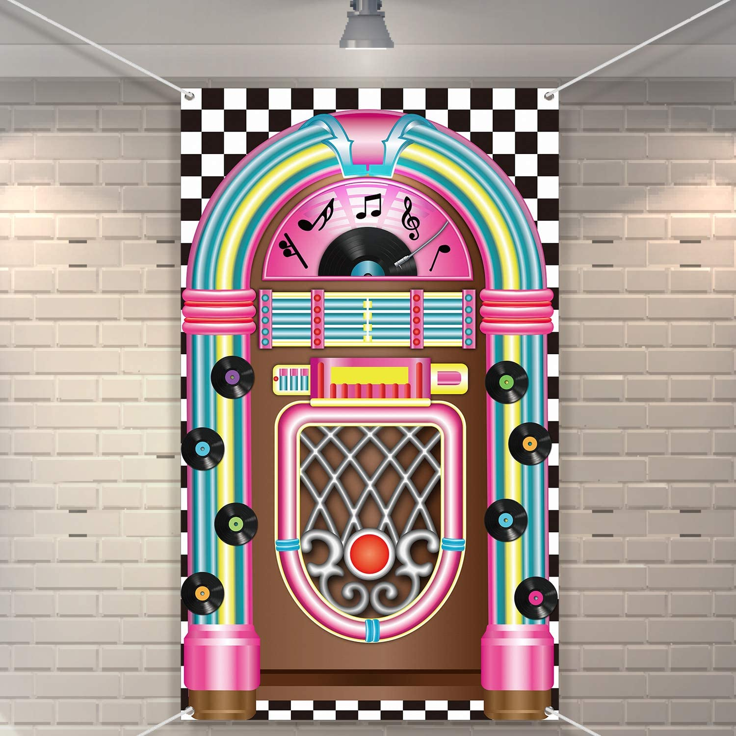Jukebox Cutout Banner 50's Rock and Roll Banner Backdrop Birthday Party Decoration Baby Shower Birthday Party Supplies