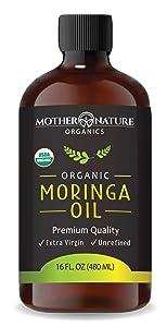 Organic Moringa Oil - Extra Virgin, Cold-Pressed, Unrefined - 16 oz Glass Bottle - Natural Moisturizer For Skin Face, Body, Hair