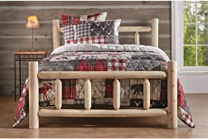 CASTLECREEK Cedar Log Queen Bed with Headboard and Footboard, Rustic Natural Unfinished Wooden Bed Frames