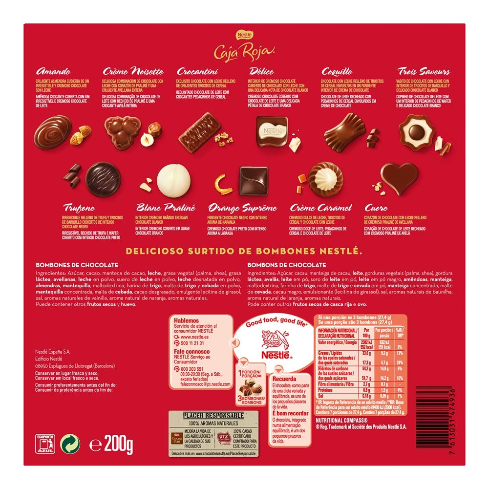 Nestlé Caja Roja Surtido de bombones de chocolate con leche ...