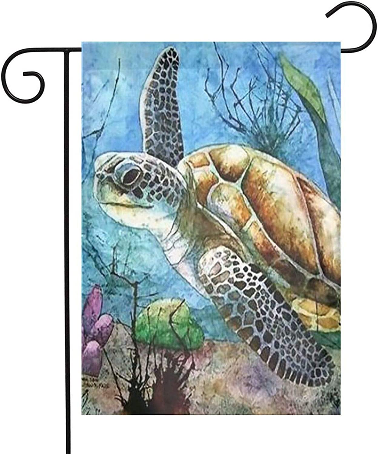 Txocouk Sea Turtle Lonely Swim Oil Painting in Ocean Welcome Garden Flag Double Sided,Decorative Garden Flag Yard Banner for Outdoor Decorations(12x18in)